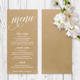 Simplistic wedding menu printed on Buffalo Kraft cardstock with white ink printing, Peach Perfect Australia