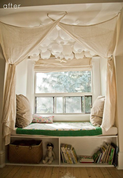 This dreamy escape was built in a little girl's bedroom on a rainy day last month. I love that the seating doubles as storage and that she used dozens of paper lanterns; it's an extremely budget-friendly way to create a fantastical mood and makes far more impact than having just one. Click on pic for helpful DIY before/after pics. :)