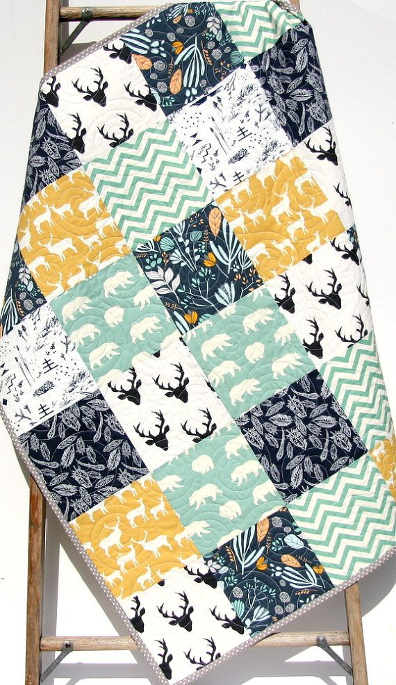 Deer Quilt, Woodland Animals, Bears Buck Modern, Navy Blue Yellow Teal, Southwestern Baby, Toddler, Crib Bed Blanket, Rustic Forest, Bedding