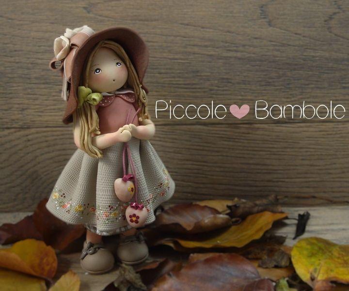PiccoleBambole: Bambola in porcellana fredda - Pasta di mais - Cuori - Autunno