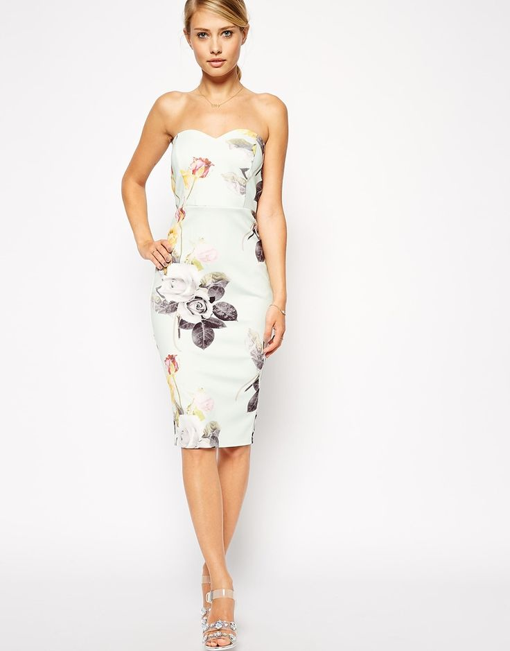 ASOS Mint Rose Bandeau Dress