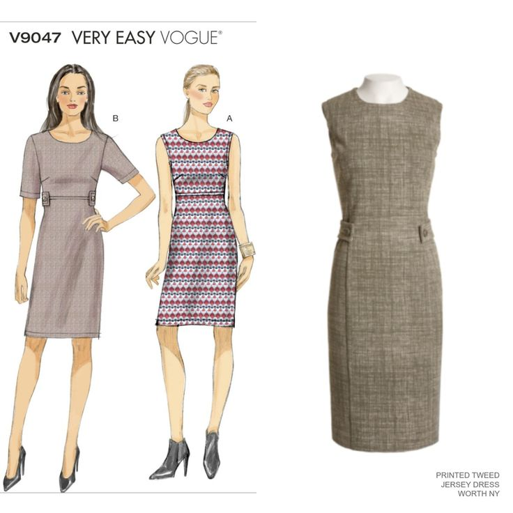 Sew the Look: the slim sheath dress with button tabs at the waist for definition. Vogue Patterns V9047.