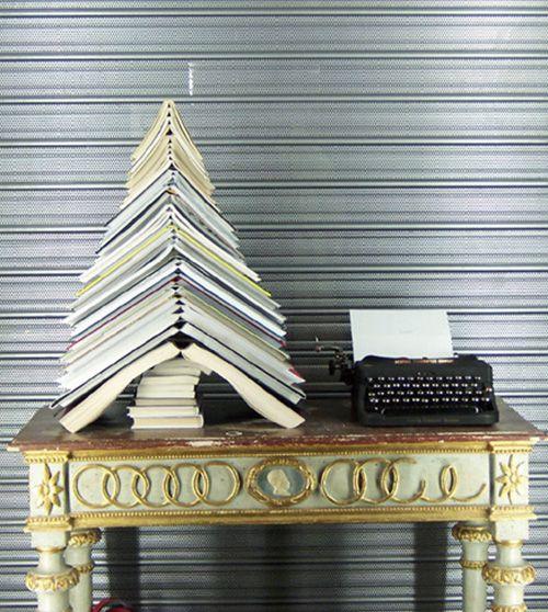 Christmas tree of books.