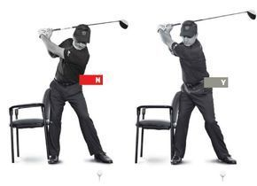 You're so intent on keeping your head still that your right hip slides away from the target, instead of turning behind you. This is a reverse-pivot, and it sets up a steep downswing that makes it almost impossible to swing down from the inside. Solution: don't bump the chair. Put a chair next to your right hip at address, leaving an inch or two of space. When you take the club back, your goal is to avoid bumping into the chair. You can brush the chair, but when you do, turn your hips, don't…