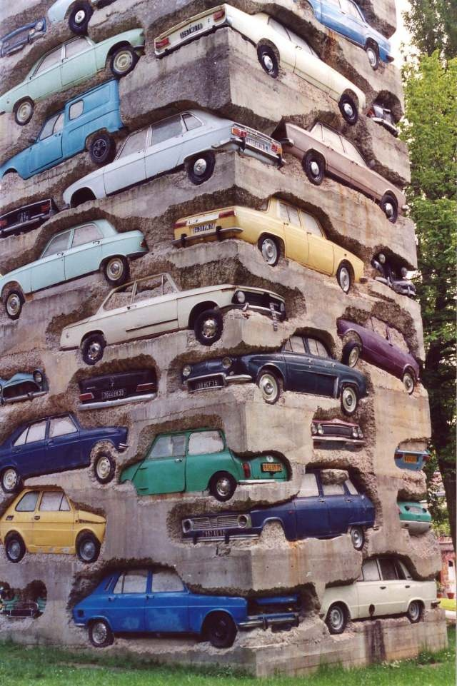 """metalhearts:    """"Long Term Parking"""" by Armanis made up of 60 cars in concrete"""