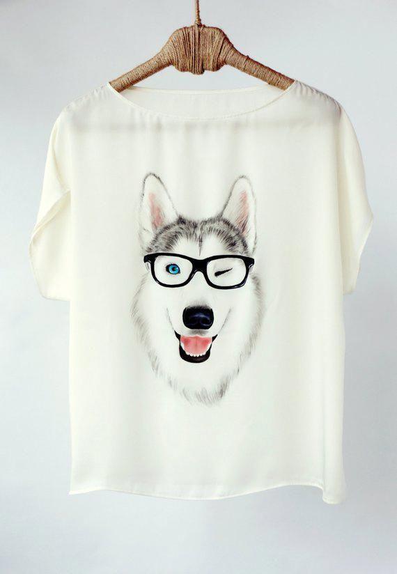 b9638b11ab813 Hand Painted Art Clothing Handpainted Animal Dog Shirt Tshirt ...