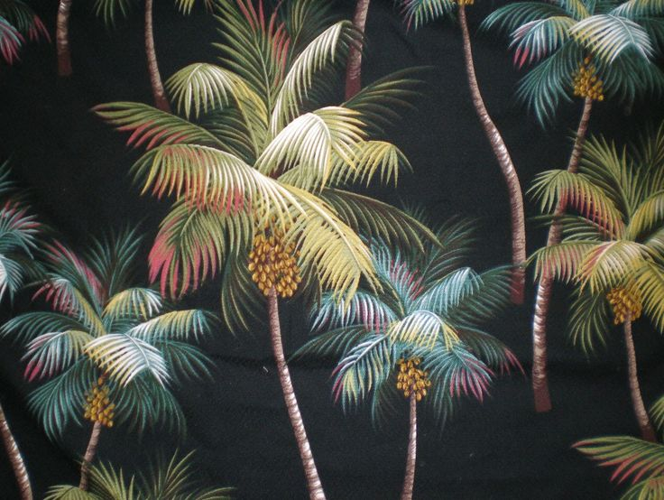 Tropical Chair Pads Waikiki Palm Black