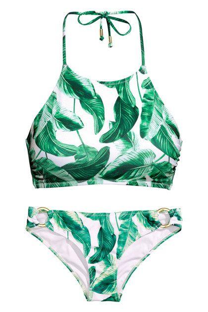 H&M palm print bikini top • $17.95; H&M palm print bottoms • $4.95