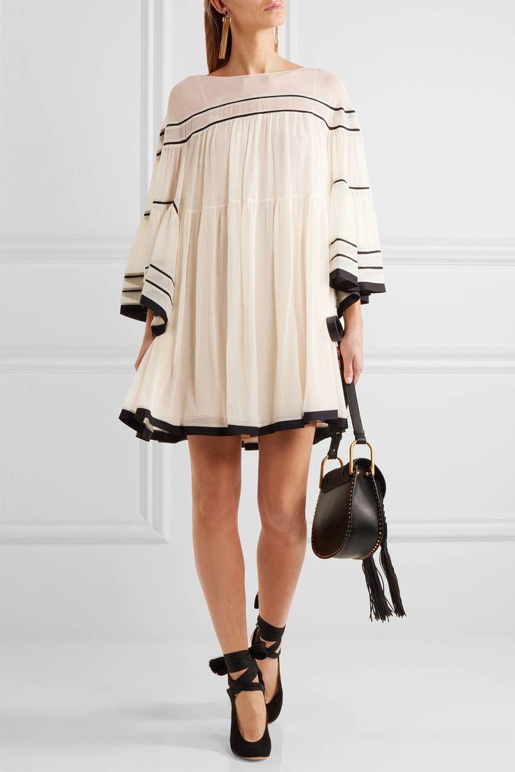 CHLOÉ Striped silk-crepon mini dress