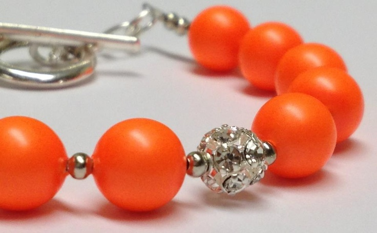 """Principessa di Primavera - Arancione"" - Princess of Spring - Orange  Swarovski Crystal Pearl  Swarovski Crystal Elements  $30.00"