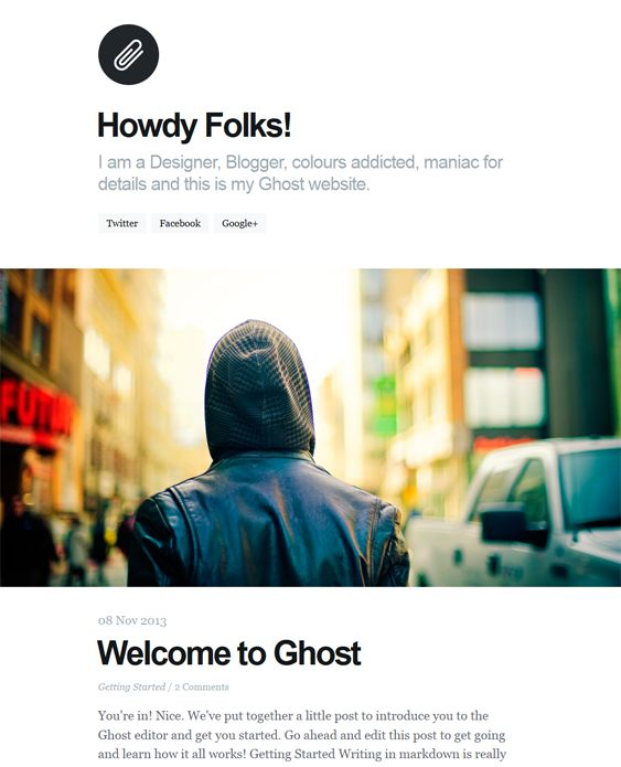 This minimal Ghost theme offers Google Fonts, a responsive layout, author info and picture support, Disqus comments, CSS3 and HTML5 code, and more.