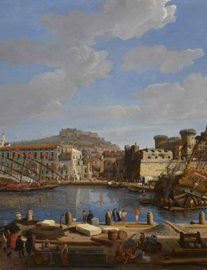 The Darsna delle Galere and Castello Nuovo at Naples, 1703, Caspar van Wittel, Oil on panel. National Maritime Museum, Greenwich, UK. Van Wittel (born Caspar Adriaensz. van Wittel, later also known as Gaspare Vanvitelli, Gasparo degli Occhiali; 1653 – September 13, 1736) was a Dutch Golden Age landscape painter. He married in Rome in 1697, and stayed most of his life in that city, though, between 1694 and 1710, he toured Italy and painted in Florence, Bologna, Ferrara, Venice, Milan, and…
