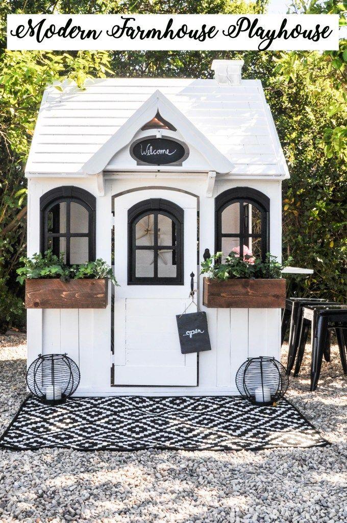 Modern Farmhouse Playhouse Makeover Play Houses Backyard Playhouse Build A Playhouse