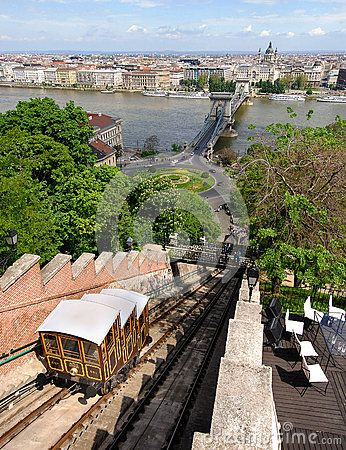 Old funicular train moving on the sloped track near Buda Castle, in Budapest, the hungarian capital city. The cart offers a panoramic view over the historical urban landscape.