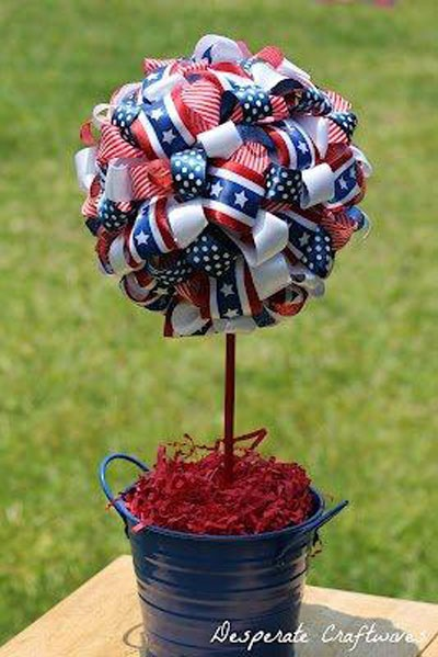 How to make a Ribbon Topiary from Desperate Craftwives. #FourthofJulyCrafts
