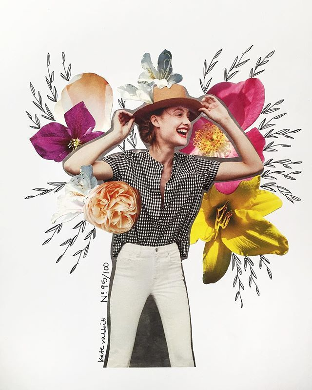 Day 95 of #the100dayproject // not so common // jcrew flower collage by kate rabbit