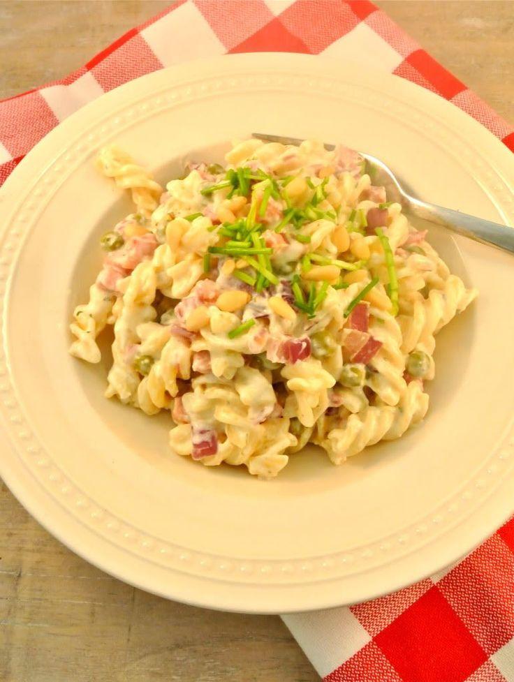 Pasta met doperwten, spekjes en boursin