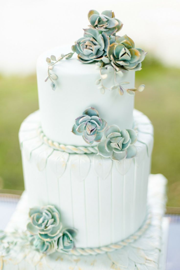Green Wedding Ideas - This white wedding cake with green floral designs is a beautiful choice for a spring wedding celebration. Description from pinterest.com. I searched for this on bing.com/images