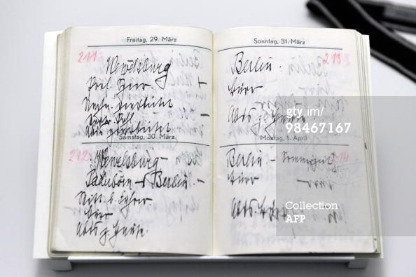 Heinrich Himmler's appointment book. On the left page is an appointment at Wewelsburg Castle and on the right page is an appointment with Adolf Hitler in Berlin. The book is used at an exhibition at Wewelsburg Castle