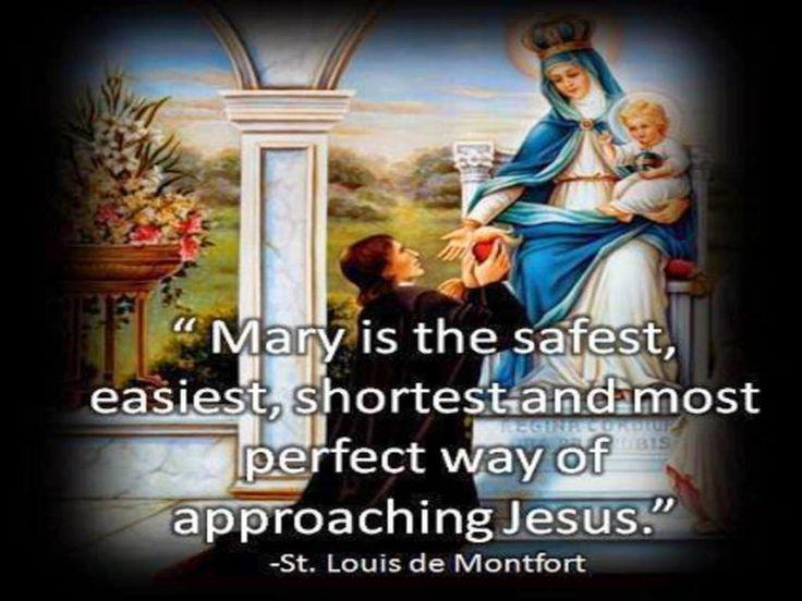 """NAAR JEZUS DOOR MARIA: De H.Grignion de Montfort schrijft in zijn geestelijke testament """"De WARE GODSVRUCHT""""het volgende:De Godsvrucht tot de Allerheiligste Maagd Maria is noodzakelijk:tdoor de Allerheiligste Maagd Maria is Jezus Christus in de wereld gekomen; door Haar moet Hij ook in de wereld regeren.Door Maria is Jezus tot ons gekomen, door Haar moeten wij tot Christus gaan.""""Wie Maria vindt, vindt het leven: Jezus Christus, MAAR.om Maria te vinden zal men Haar eerst moeten zoeken, en dit…"""