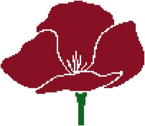 Simple Poppy  a Counted Cross Stitch Pattern by WooHooCrossStitch