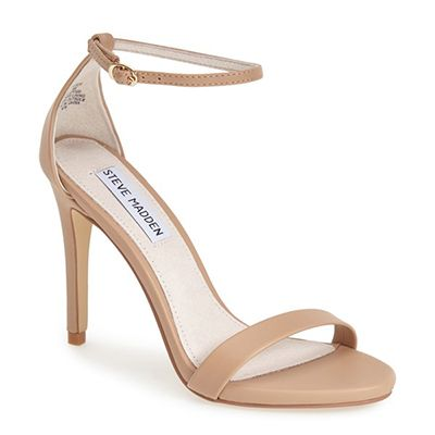 Steve Madden 'Stecy' Sandal -  nude heeled sandal, nude ankle strap sandal, nude ankle strap heeled sandal, neutral heeled sandal, neutral heels, nude heels, neutral ankle strap sandal, neutral ankle strap heeled sandal