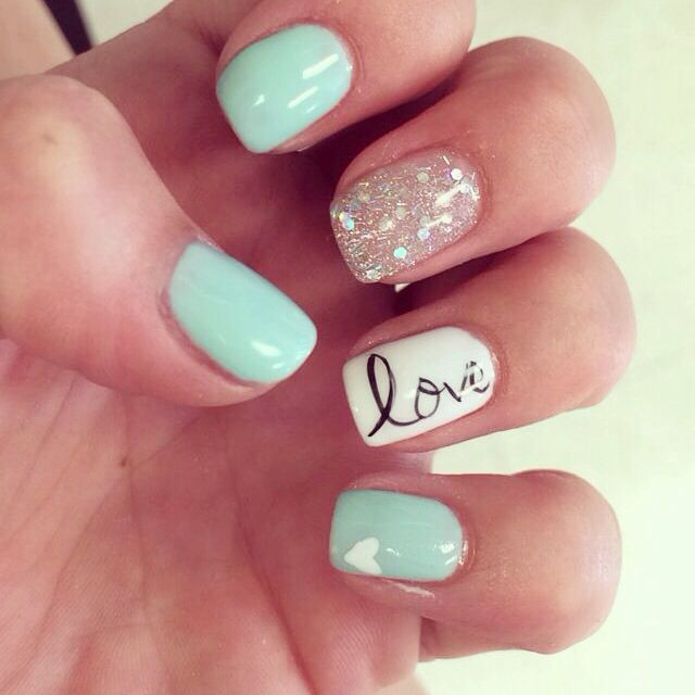 mint green sparkle love nails