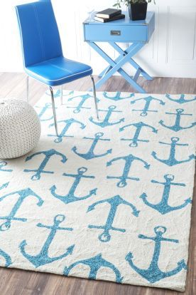$5 Off when you share! Hacienda Anchors Outdoor White Rug | Contemporary Rugs #RugsUSA