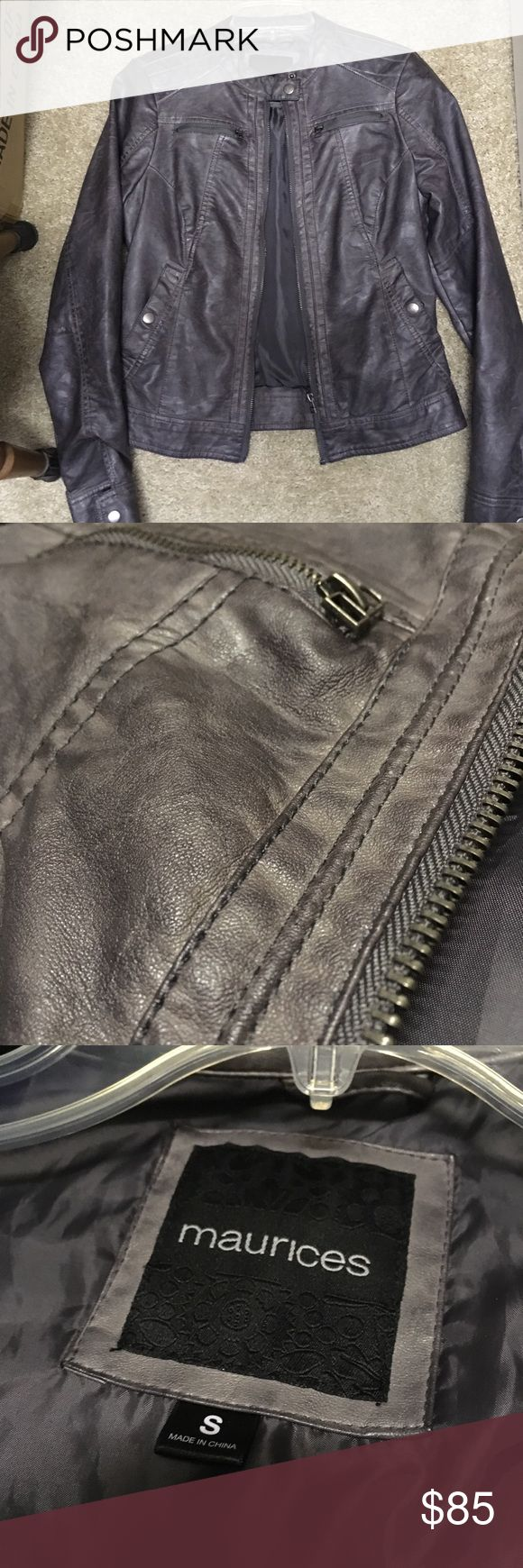 Medium Gray Bomber Jacket Worn once - faux leather   Remember Poshmark takes 20% of the sale.  -Pet Free / Smoke Free -Bundles Encouraged -Final Sale, no exception -No holds / trades -No offers in comments will be accepted.  Willing to negotiate. I don't consider 30, 40, 50% off as a reasonable offer. Again, remember Poshmark takes 20%. Please view the chart for reasonable offer amounts. Anything in the TWO LEFT green columns I'll accept, anything else I consider a low ball offer and will…
