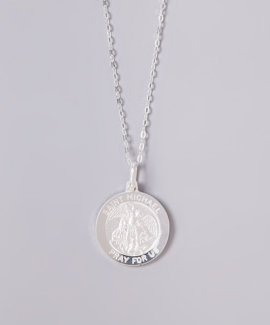 Sterling Silver Large St. Michael Pendant Necklace
