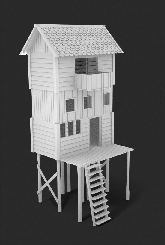 Stilted houses. 3D model for print. Modelos arquitectónicos. #3dPrintedArchitecture