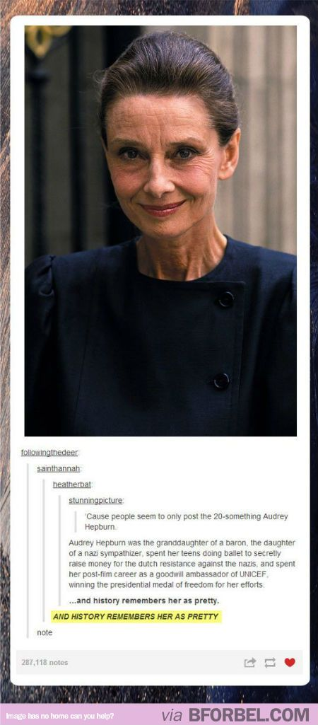 "Facts About Audrey Hepburn That People Don't Remember Because She's Just ""Pretty""… #womanhood #feminism"