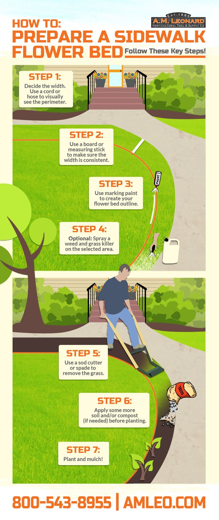 Sidewalk Flowerbeds: Planning the details of a landscaping project is the first step you should take before beginning. If you have been considering adding a flowerbed along a sidewalk, here are key steps to know before getting started. Also, be sure to read the label of any weed and grass killer before using it, and use plants that will do well in your climate.