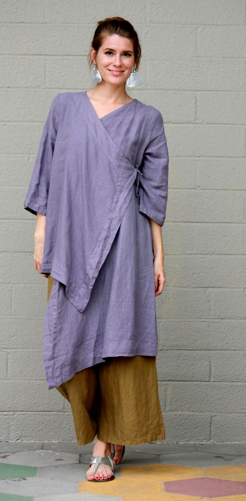 BRYN WALKER Linen Lagenlook  ZENA TUNIC Long Artsy Duster Top S M L XL  LUNA