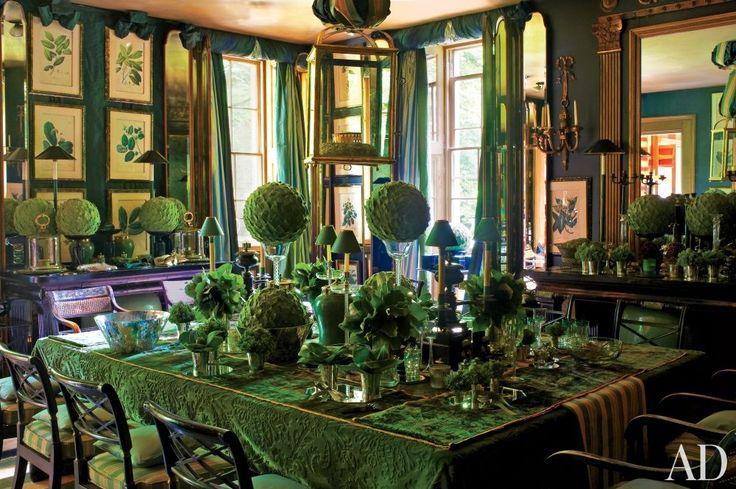 Anouska Hempel's emerald dining room in Wiltshire, England