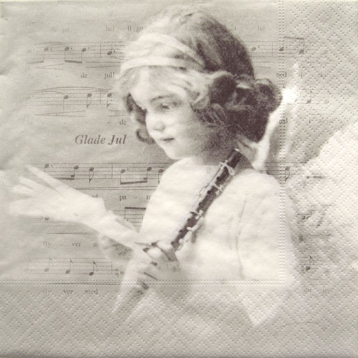 Paper Napkins for Decoupage, Victorian girl, music, Angel, music, Glade July Flute,  set of 3 paper napkins, 33x33 cm (no.104) by ArsaiSupplies on Etsy