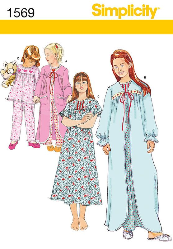 Simplicity Pattern 1569NN 8-10-12-14-Child Girl Sleepwear