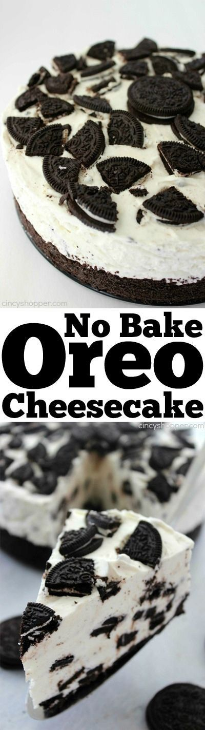 No Bake Oreo Cheesecake- looks and tastes like it could be on the menu of a high end restaurant. Super simple with no baking involved. #bake
