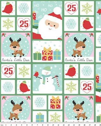 Christmas Fabric Panel Santa's Little Deer Patch Snowman Birds | auntiechrisquiltfabric - Quilts on ArtFire