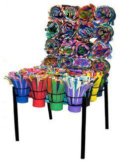 Sushi Chair, Frères Campana (2003) matériaux :  lamelles de plastique et de sous-moquette