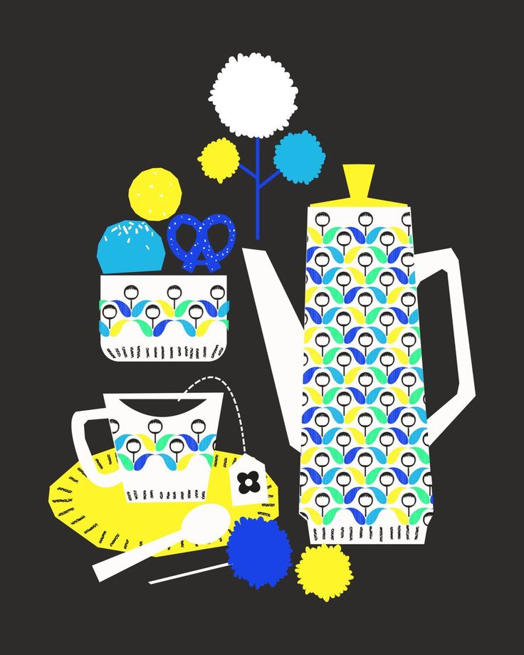 Tea time giclee print illustration. Electric colours pop on a charcoal background.