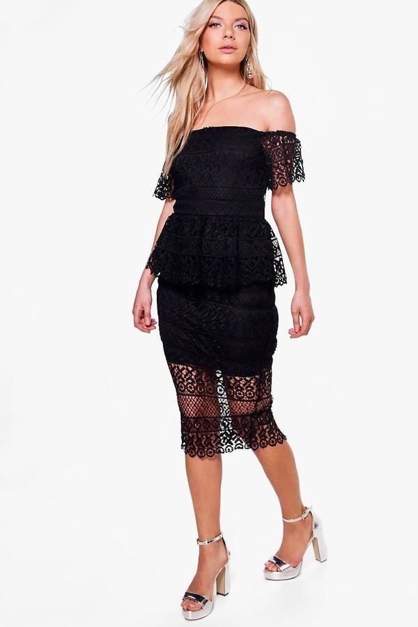 boohoo Boutique Jessie Lace Peplum Midi Dress