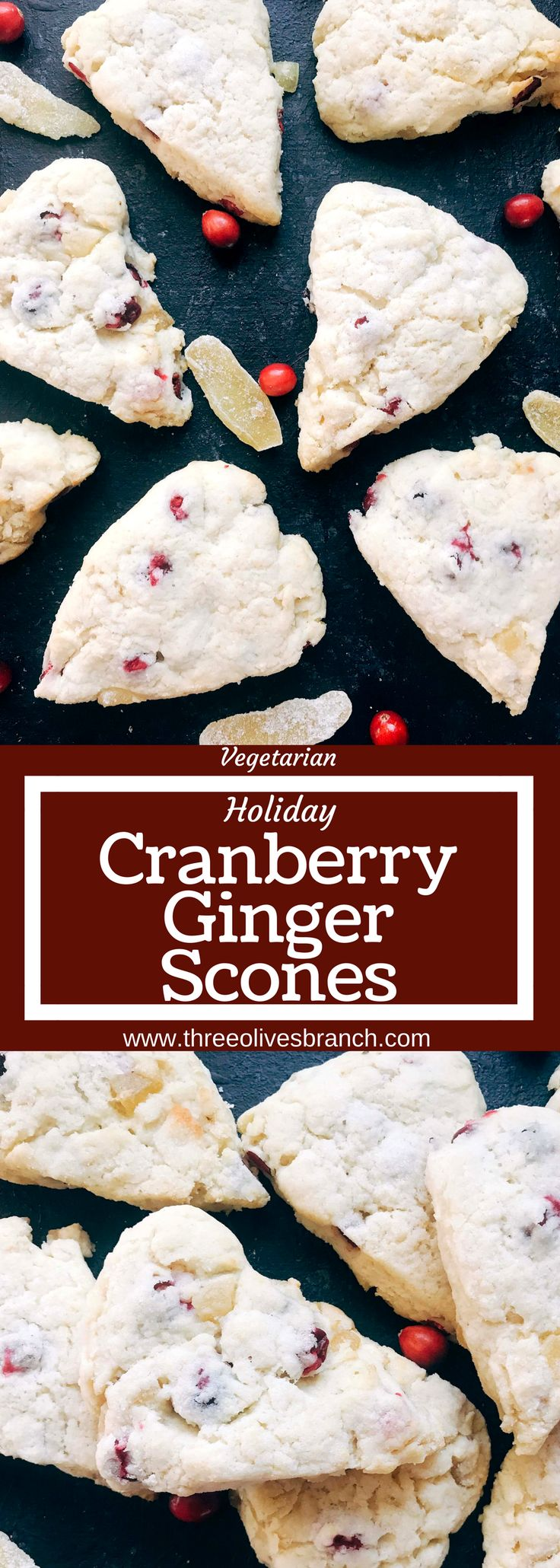 Classic holiday flavors in a scone. Fresh or frozen cranberries and crystallized ginger are mixed in a scone recipe for a breakfast or brunch that is perfect for the holidays. Cranberries and ginger are perfect for Thanksgiving and Christmas. These scones can be easily frozen and baked as needed. Candied ginger brings a sweet and spicy flavor. Vegetarian. Cranberry Ginger Scones | Three Olives Branch | www.threeolivesbranch.com #christmasbreakfast #christmasbrunch #cranberryginger…