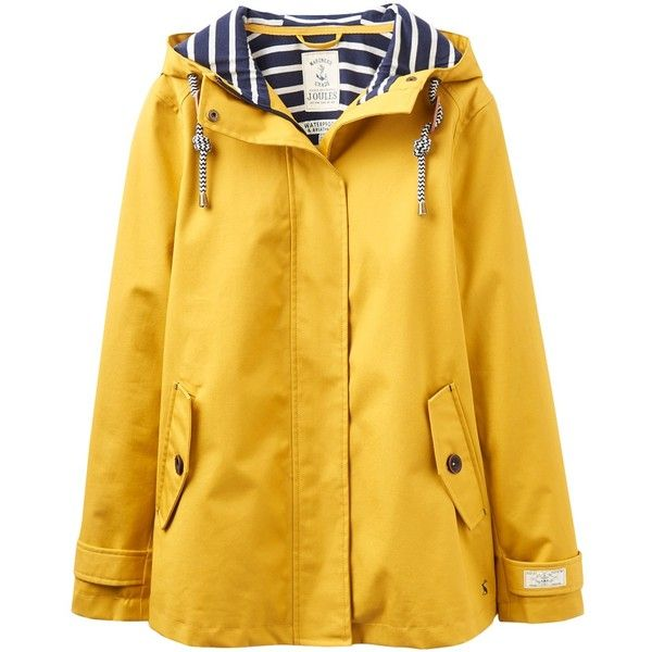 Joules Right as Rain Coast Waterproof Jacket (145 CAD) ❤ liked on Polyvore featuring outerwear, jackets, antique gold, long sleeve jersey, lined hooded jacket, water resistant jacket, combat jacket and long sleeve jacket