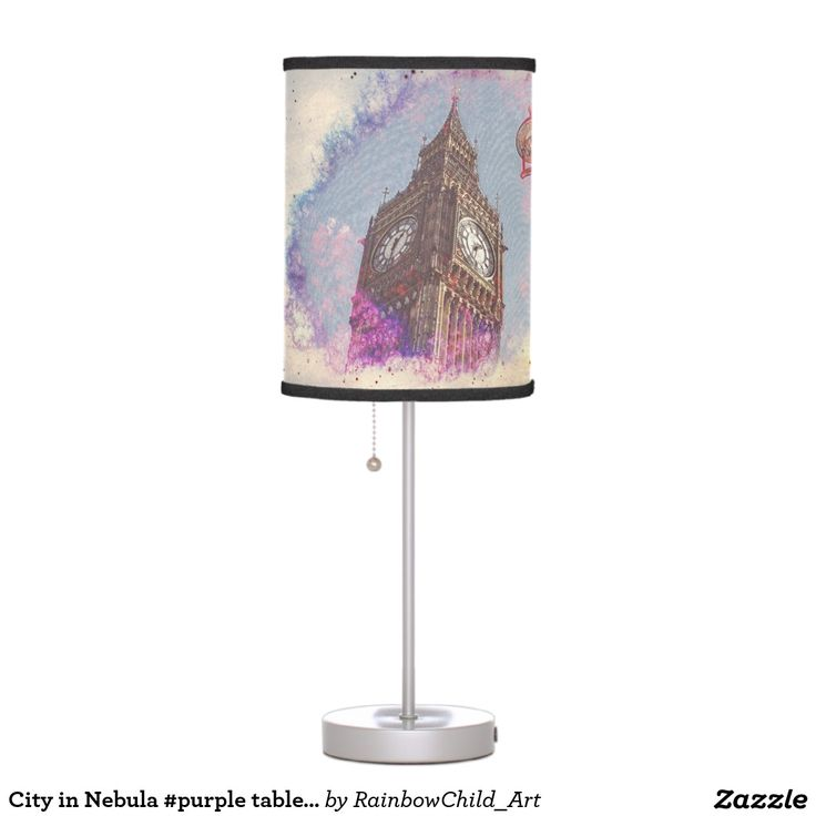 City in Nebula #purple table Lamp. https://www.zazzle.com/city_in_nebula_purple_table_lamp-256519430177080235 #table #lamp #city #products
