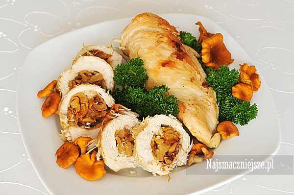 Piersi z kurczaka faszerowane kurkami, piersi z kurczaka z grzybami, kurki, grzyby, http://najsmaczniejsze.pl #food #grzyby