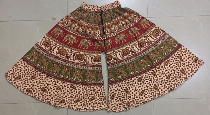 Indian Retro Boho Tribal gypsy prints divided skirt culottes skort cropped pants #Unbranded #CaprisCropped