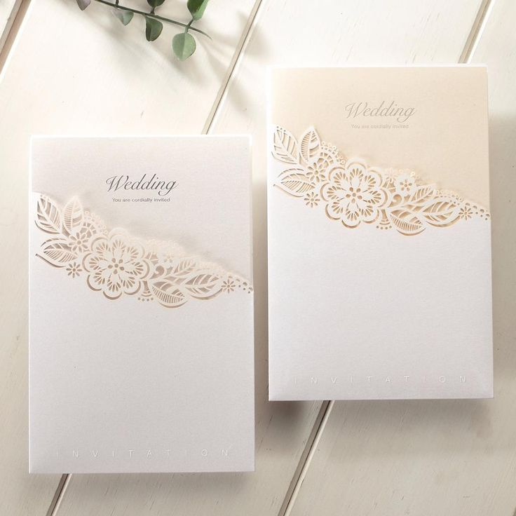 Laser Cut Pocket Floral Lace Wedding Invitations –  CCL 8017 - Gold or Silver