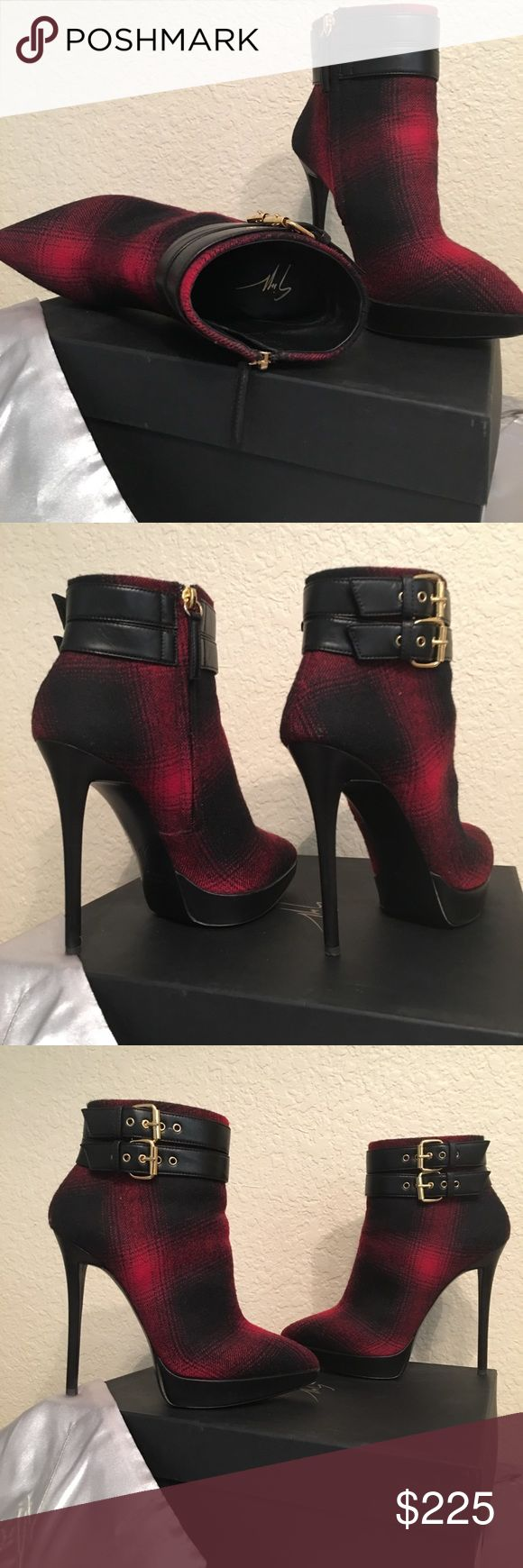 "Giuseppe Zanotti Red/Black booties 37 (7) Gently worn red/ black stiletto ankle boots 5"" heel. Wool material. Includes box and designer bag. Will consider all reasonable offers. Giuseppe Zanotti Shoes Ankle Boots & Booties #giuseppezanottiheelsred"
