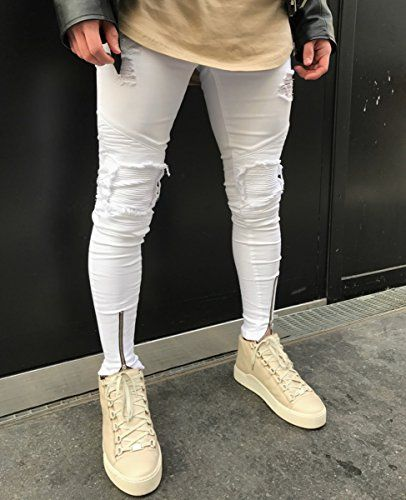 0549dae72 Men's Distressed Skinny Slim Fit Zip Jeans with Rips and Biker Details  White 28